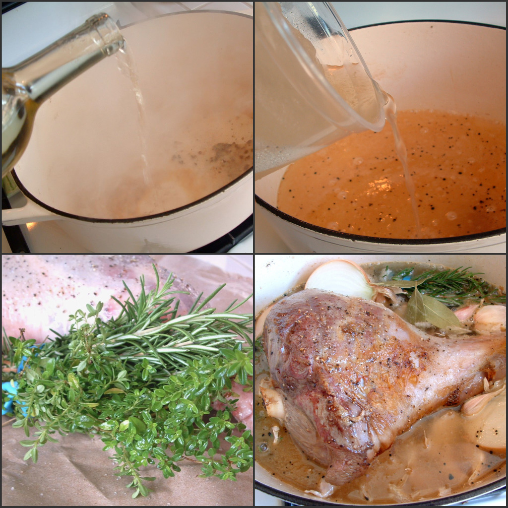 ina adds water but i added homemade chicken stock into the dutch oven now add the herbs garlic and onionadd the lamb - Ina Garten Lamb Recipes