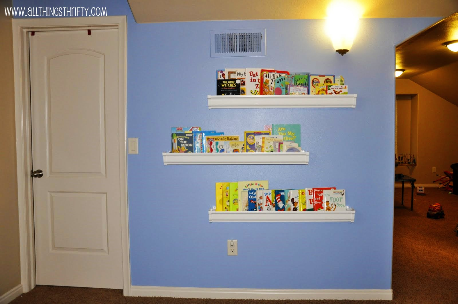 Parade of homes sponsored by poppies at play number 7 for Plastic rain gutter bookshelf