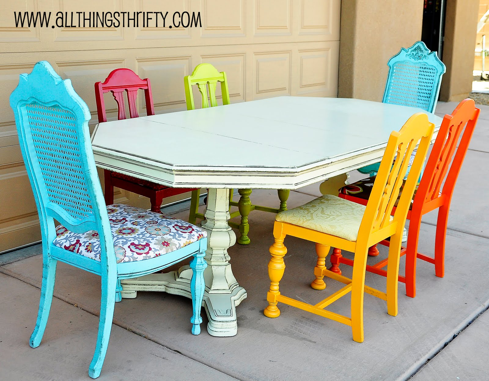 Dining room table transformation for Painted kitchen chairs