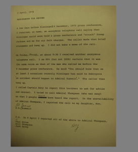 Did Henry Kissinger Really Plan 'An Accident' for Bud Zumwalt?