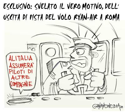 Alitalia Roma incidente piloti Gava satira vignette