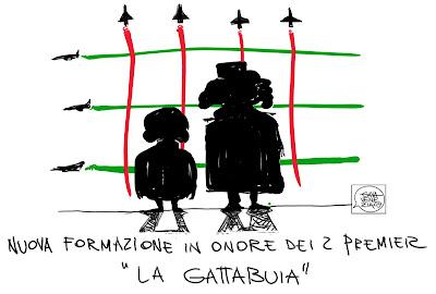 Gava Satira Vignette Gheddafi Berlusconi frecce tricolori