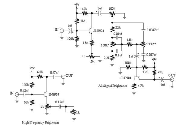 guitartech frequency brighteners guitar effect schematic