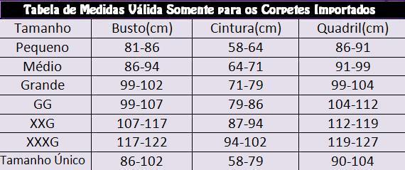 Tabela de Medidas dos CORPETES IMPORTADOS!!!
