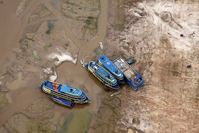 Boats left stranded in the Amazon basin near Manaus