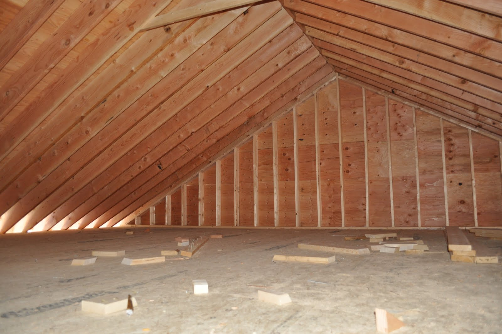 The grange house work on the garage continues for Garage attic storage
