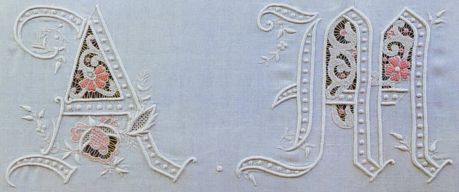 Stand Alone Lace Embroidery Designs : Italian needlework monograms and ciphers