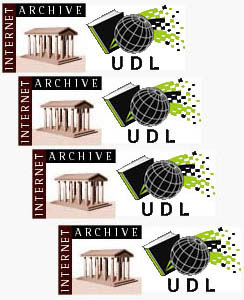 Logos do Internet Archive e da Universal Digital Library