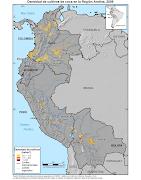 . cartografía con la densidad de los cultivos de Coca en la Región Andina. (coca)