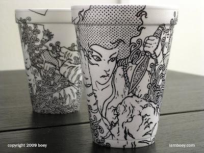 arte con vasos de telgopor