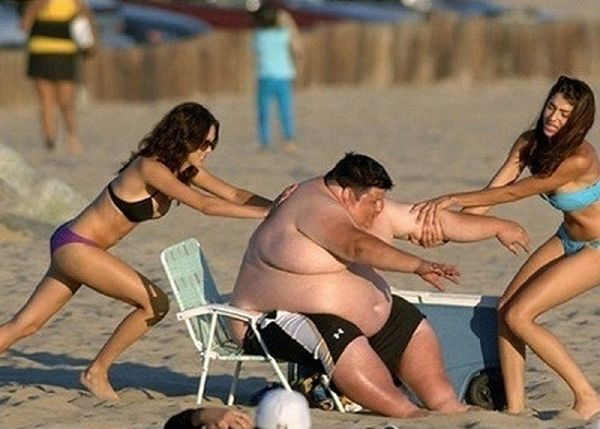 Fat people girls on the beach