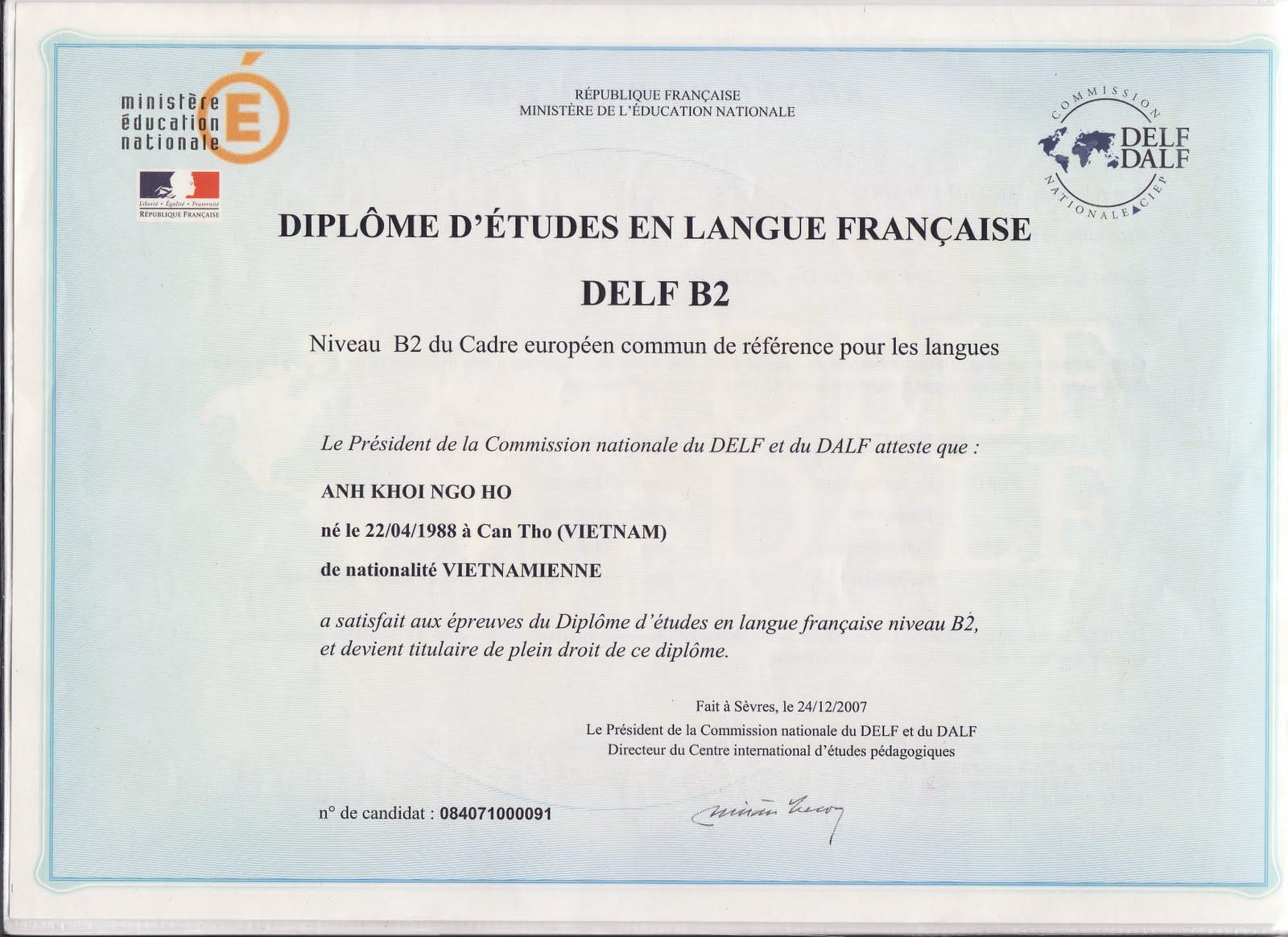 diplome d u0026 39  etudes en langue francaise delf b2