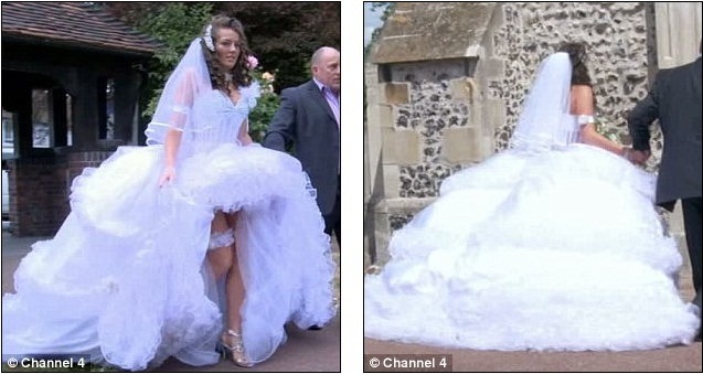 Teenage bride Josie struggles to walk in her huge wedding dress