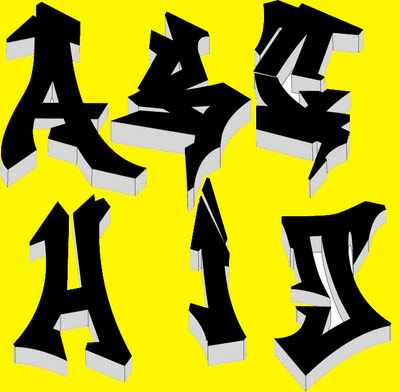Graffiti alphabet 3D-black and yellow ~ Justin Bieber Picture 2011