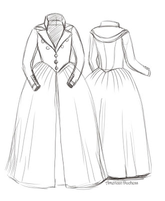 costume analytics the american redingote 1791 american duchess 1910s Wedding Dresses pattern from what we can see in the painting the bodice is tightly fitted over stays and features a front closure that fastens edge to edge