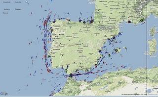 Posició dels vaixells a la Península Ibèrica