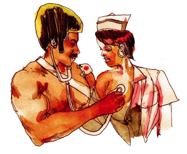 Black Dynamite discovers the only good thing about a cold stethoscope.