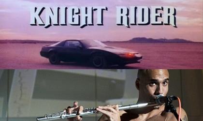 'Knight Rider, a shadowy flight into the dangerous world of a man from which hot fire spits.'