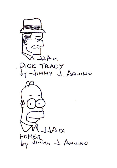 Dick Tracy and Homer Simpson by Jimmy J. Aquino, from Jeremy Arambulo's sketchbook