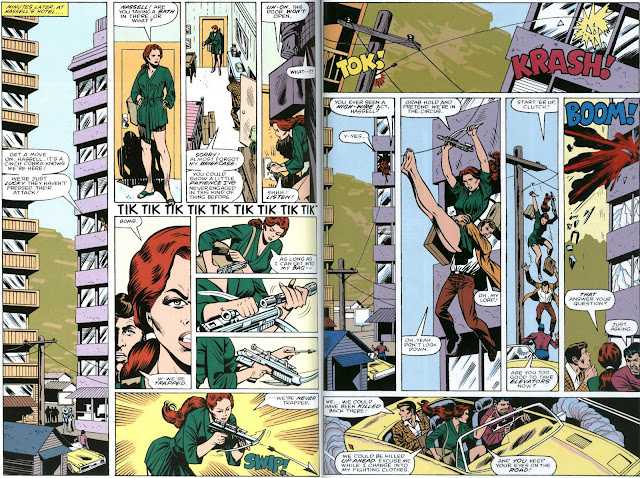 Nice stems, Scarlett. The crossbow-wielding hottie takes center stage in G.I. Joe #9 by Steven Grant and Mike Vosburg, with letters by Janice Chiang.
