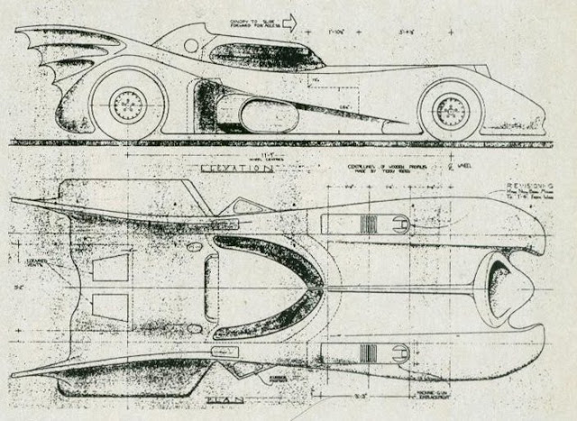 Anton Furst's Batmobile blueprints