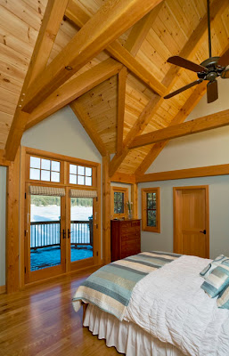 lake view timber frame bedroom
