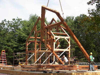 timber frame under construction in new york