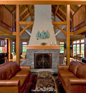 double sided fireplace in great room