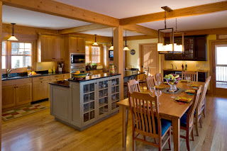 open timber kitchen and dining area