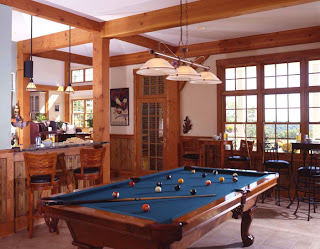 timber frame bar and game room
