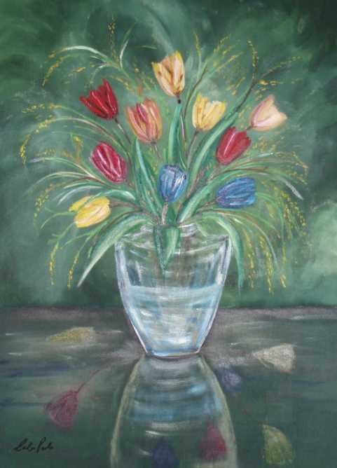 La pittura di paolo caloi fiori 1 vaso for Quadri di fiori ad olio
