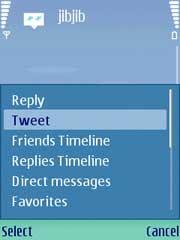 jibjib - small and fast J2ME Twitter client