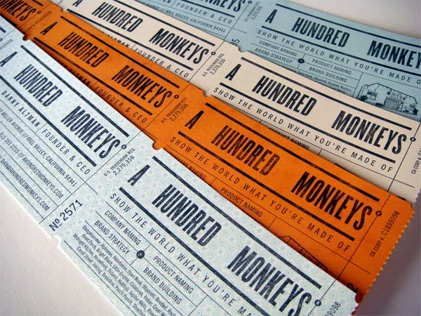 Business cards archives design crush like most designers a good business card really does it for me these ticket roll cards for a hundred monkeys by croxton design really sent me over the colourmoves