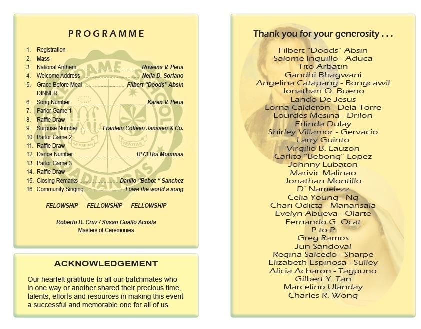 class reunion program template - download high school reunion program template free