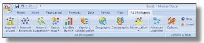 adCenter Add-in で追加されるボタン