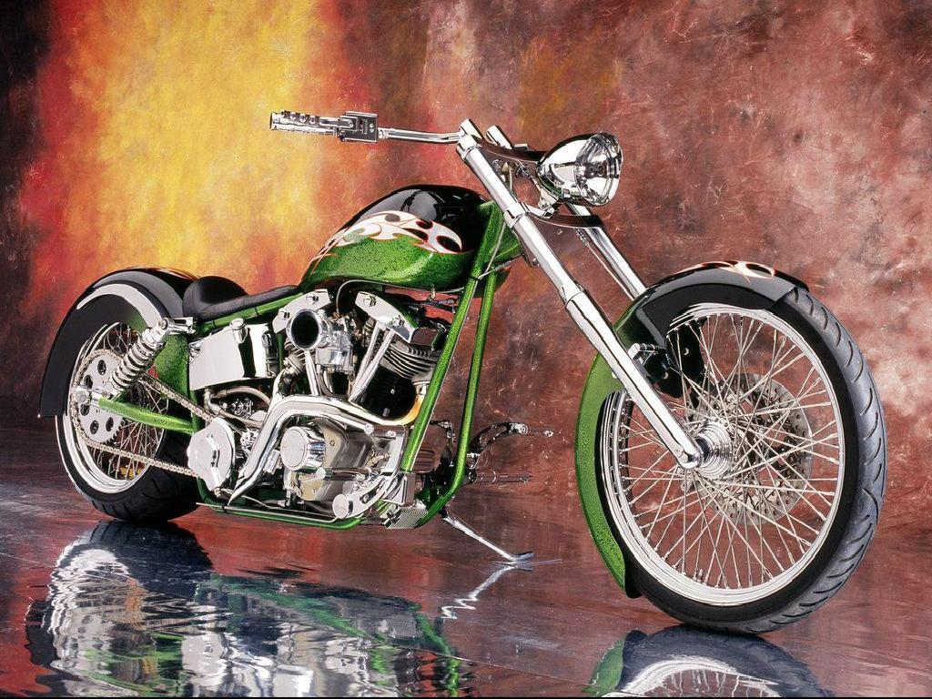 Harley with V machine in airbrush paint colour title=