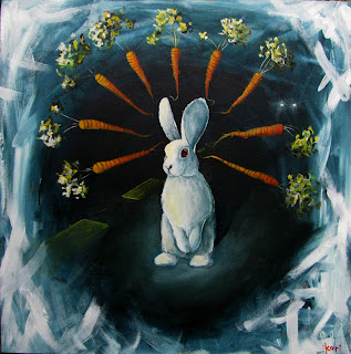bunny rabbit acrylic painting