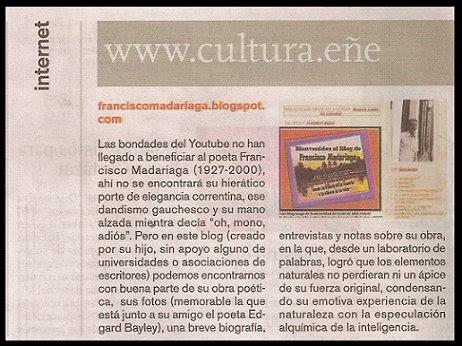 Francisco Madariaga Blog en la Revista Ñ del Diario Clarín (18/04/09)