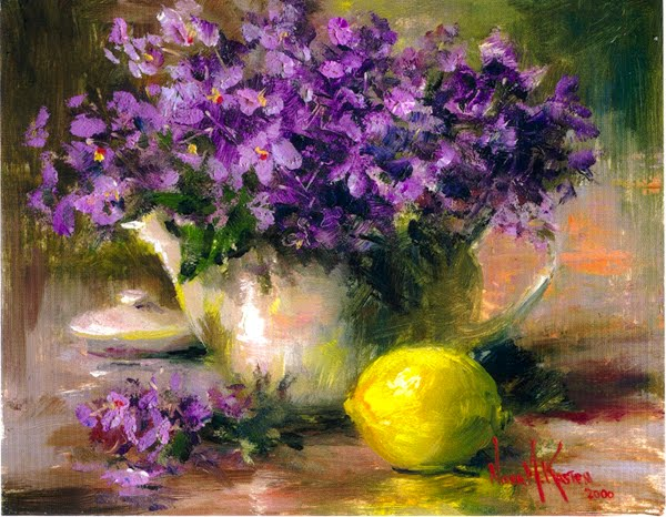 """Daily Painters of Florida: Oil Painting """"Violets With Lemon"""" by Artist ...: dailypaintersofflorida.blogspot.com/2010/05/oil-painting-violets..."""