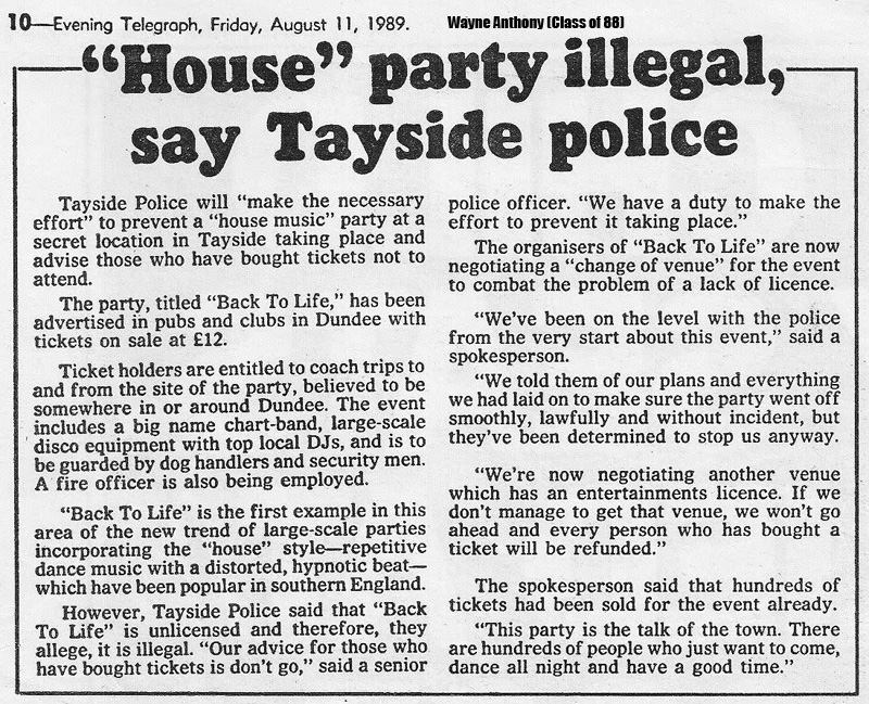 The history of acid house evening telegraph friday 11th for Acid house history