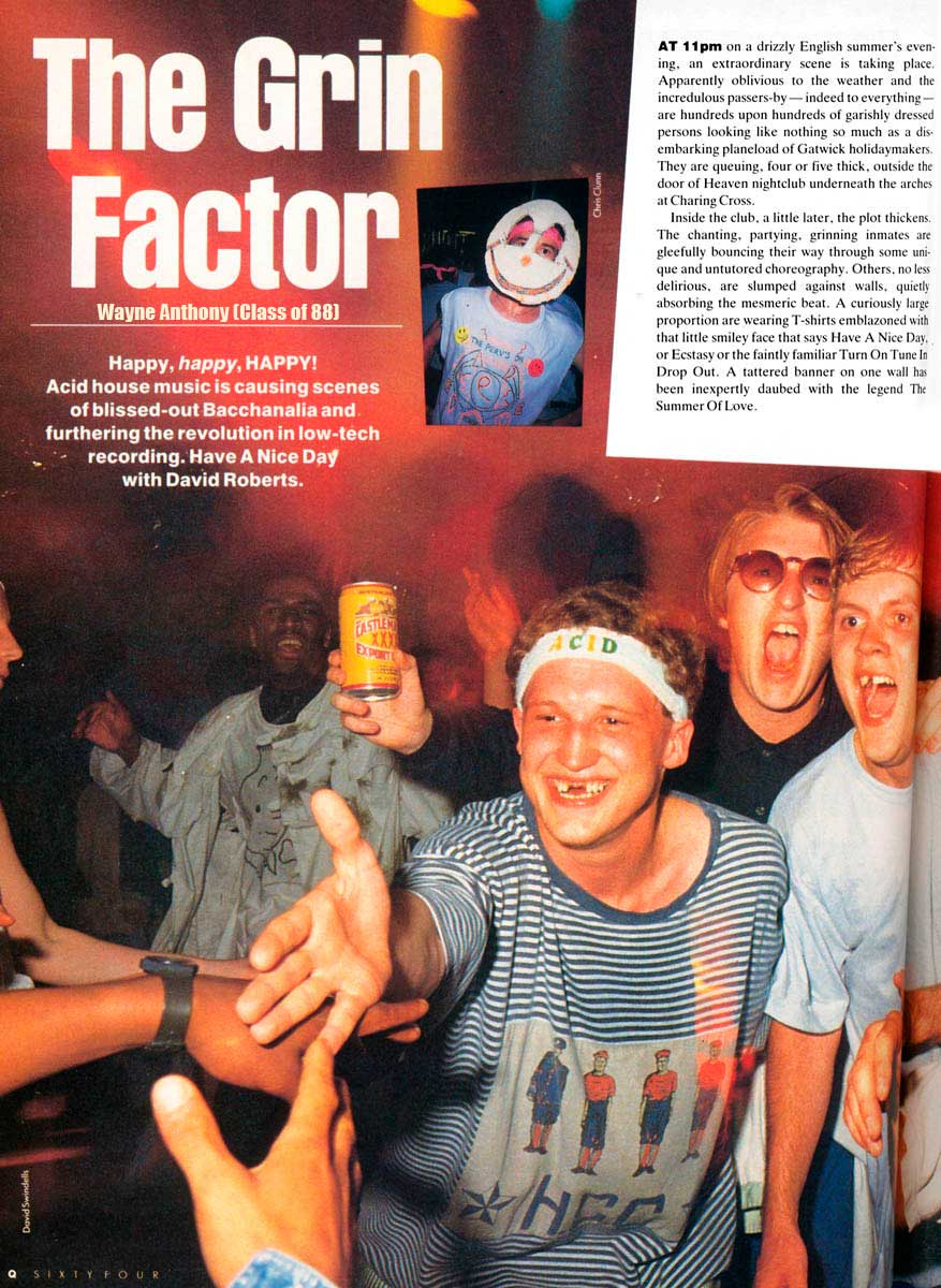 The history of acid house the grin factor q magazine 1988 for Acid house music 1988