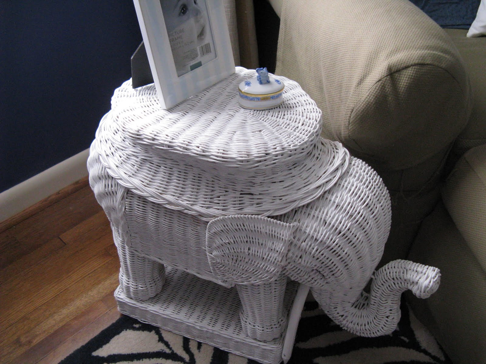 Elephant Wicker Side Table
