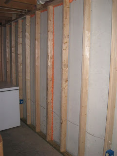 here you can see the fire resistant drywall installed between the