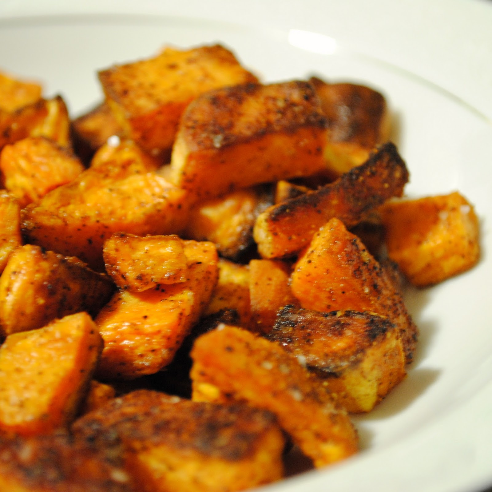 spicy roasted sweet potatoes 2 medium sweet potatoes peeled and cubed ...