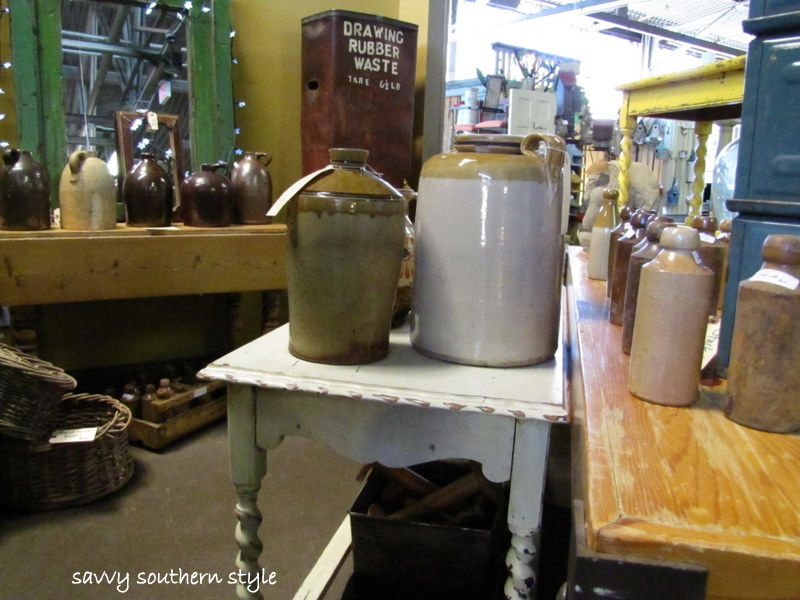 Lots of moonshine jugs and
