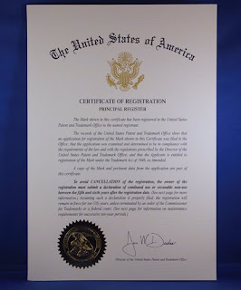 federal trademark certificate