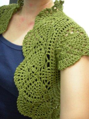 Crochet X-Stitch Shrug Free Pattern : Entre Hilos y Puntadas: Bolero Verde muy bonito