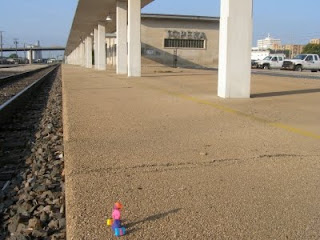 traveler on the platform at Topeka