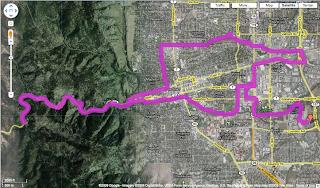 map of bike ride in Boulder