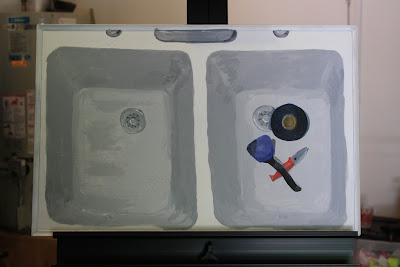 progress shot of painting